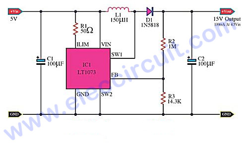 5V to 15V step-up-converter with IC LT1073