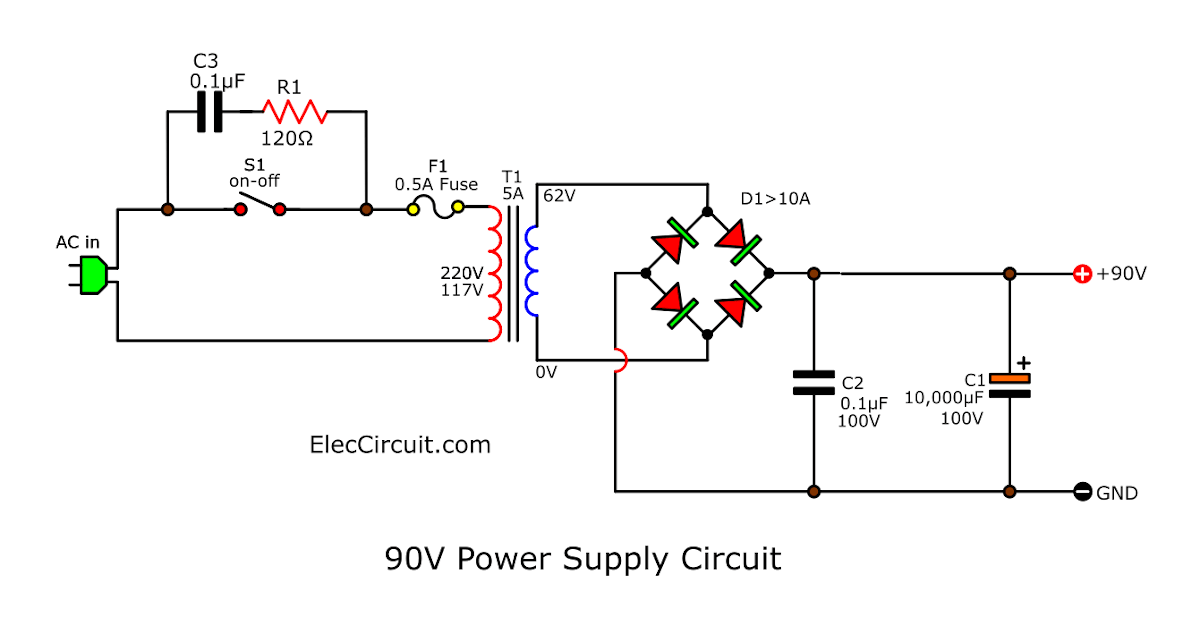 90V DC Power Supply circuit