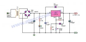 Adjustable power supply 1.2-30V 5A using LM338
