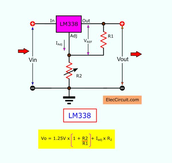 LM338 Basic circuit Voltage Calculator