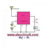 Non-contact ac voltage detector circuit using CD4060