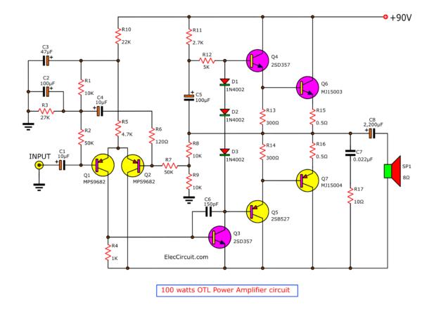 OTL power amplifier circuit using transistor