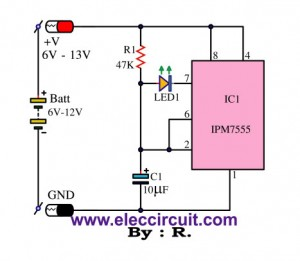 Simple battery status monitor circuit using IC-7555