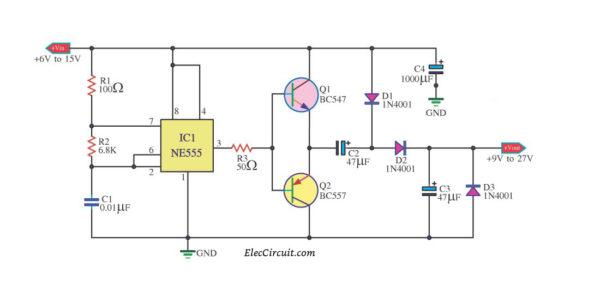 DC to DC converter using NE555