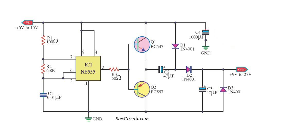 7 ideas of 555 DC boost converter circuits diagram
