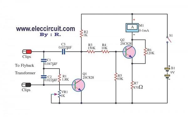 flyback transformer wiring diagram flyback transformer tester circuit using 2sc828  flyback transformer tester circuit