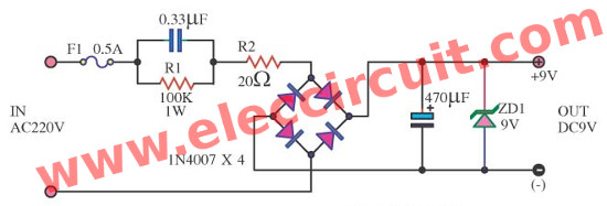 transformerless power supply circuit eleccircuit com power supply 9vdc no transformer