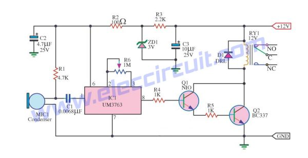 whistle activated switch using um3763