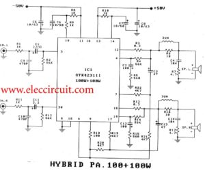 2 channel 100w stereo audio amplifier circuit  by STK4231II