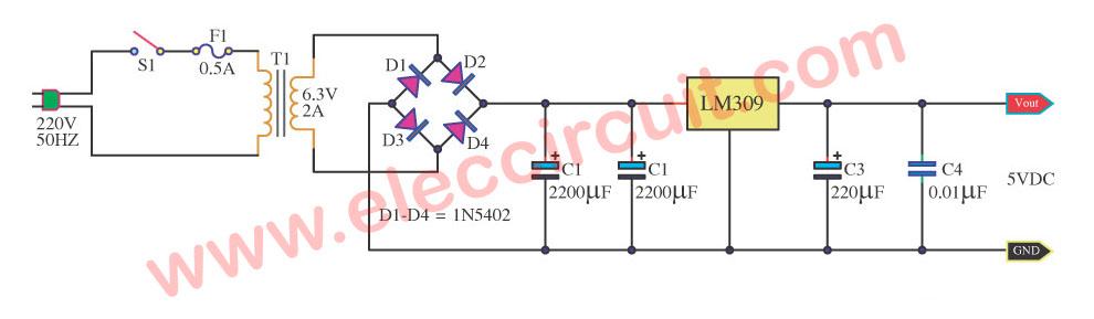 7805 Voltage Regulator Circuit Transistor Bd240c In The Dc Voltage