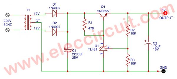 5V/ 0.5A Regulator using 2N3055-TL431