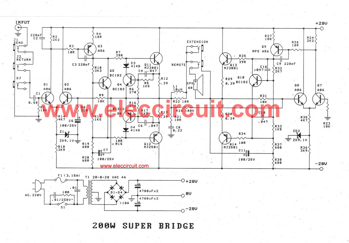 200w guitar amplifier circuit diagram with pcb layout  eleccircuit.com