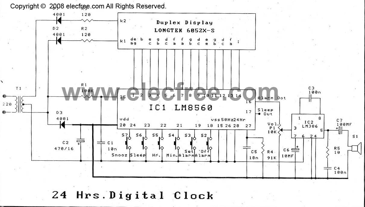 lm8560 digital clock circuit diagram with alarm eleccircuit comlm8560 24hr digital clock