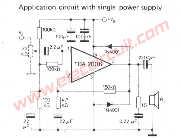 TDA2006 Audio Power Amplifier Circuit,OTL 12W with Single power supply