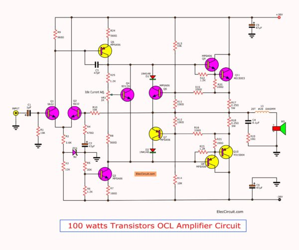 circuit-of-the-cheap-100-watt-transistor-power-amplifier-project-mj15003mj15004