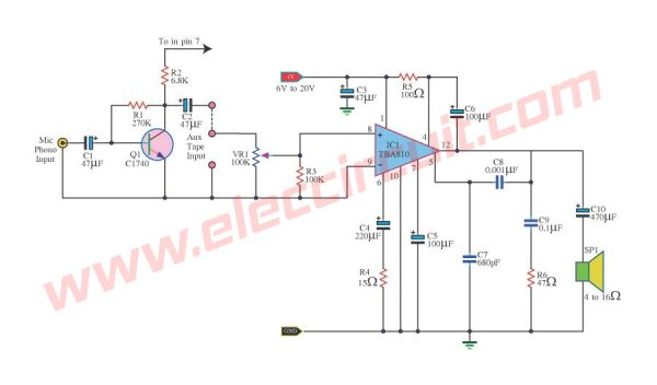 6W Power Amplifier circuit using TBA810