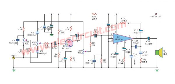 7 watts Power Amplifier Circuit using TBA810