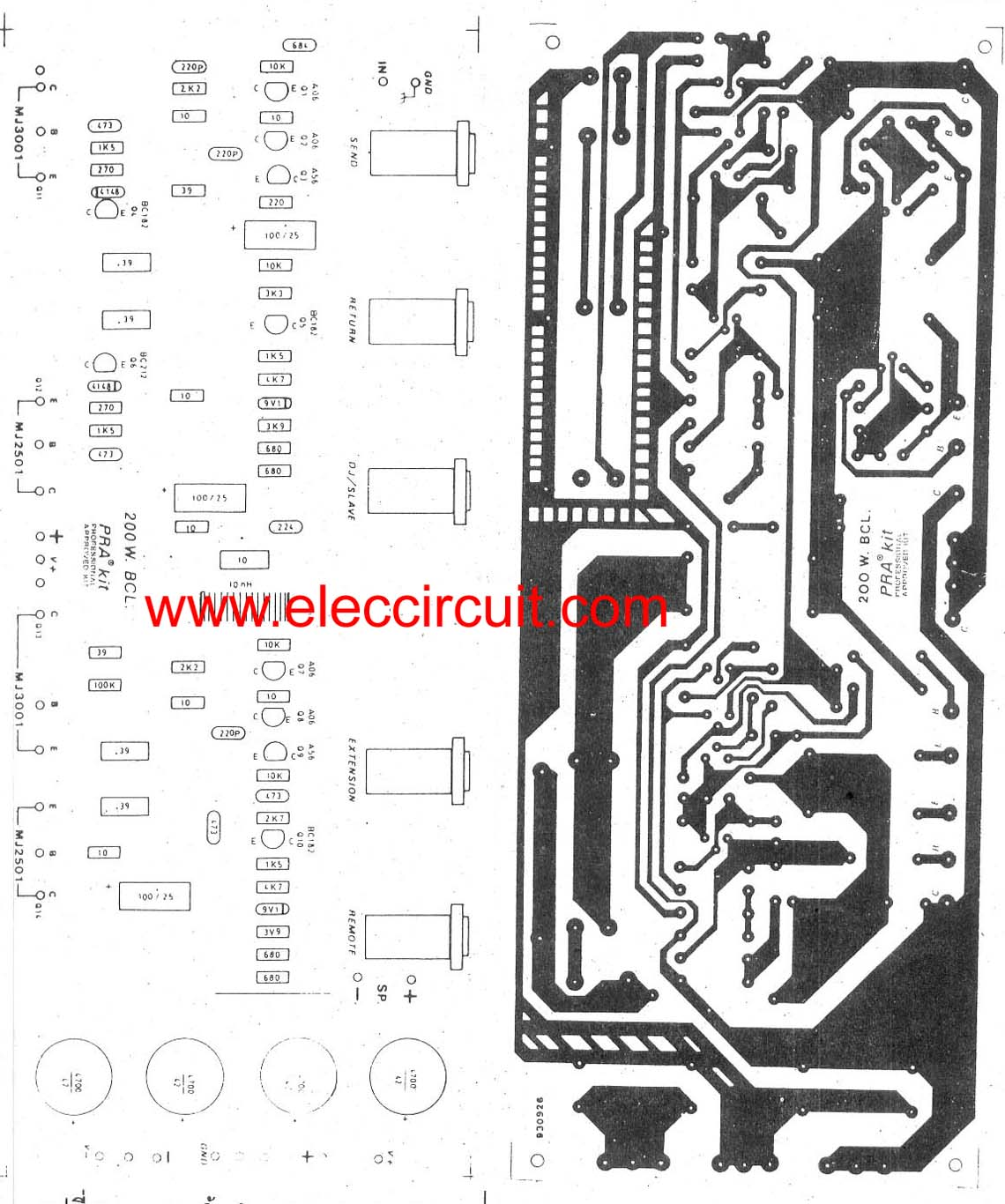 pcb of bass guitar super bridge amplifier 200 watt 200w guitar amplifier circuit diagram with pcb layout guitar amp wiring diagram at nearapp.co