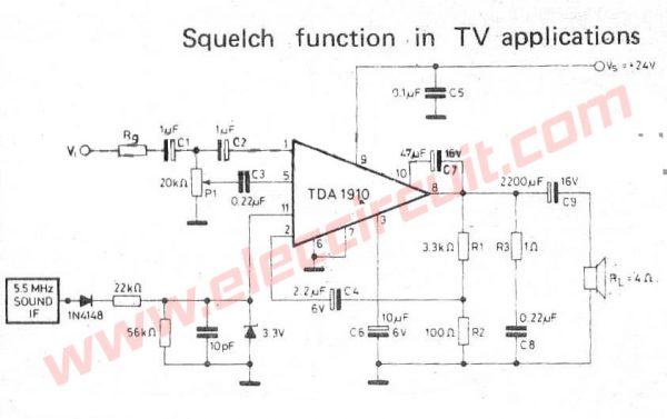 Power Amplifier Sqelch function in TV using TDA1910