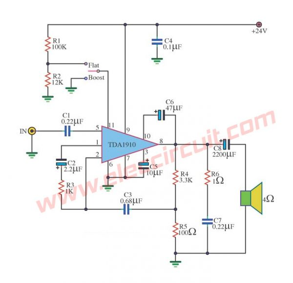 Power Amplifier Monolithic Integrated Circuit using TDA1910