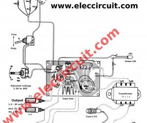3A adjustable voltage regulator using LM317-2N3055