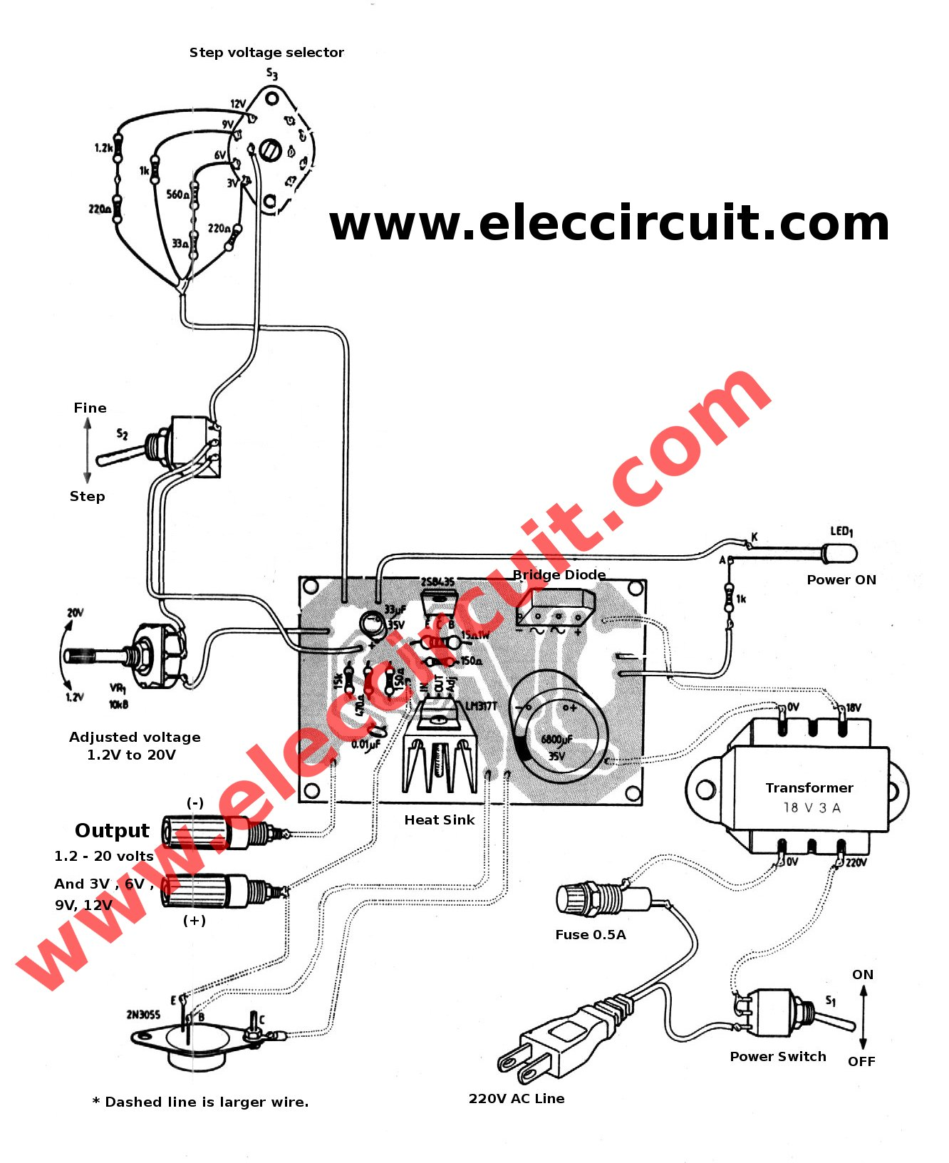 3a Adjustable Voltage Regulator Circuit With Pcb Ac Dc Theory Circuits The Components Layout Of Best Power Supply