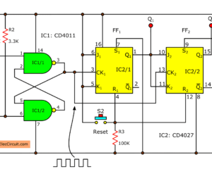 The experimentation of 2 bit binary counter using CD4027 SN7473