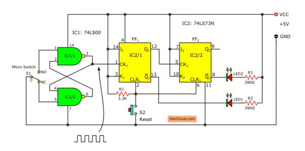2 bit binary counter using TTL