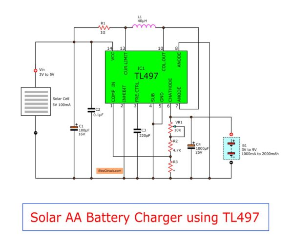 make solar aa battery charger circuit by tl497