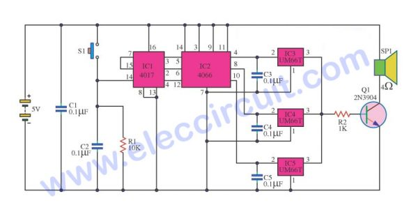 Music Box Automatically Circuit using IC UM66T
