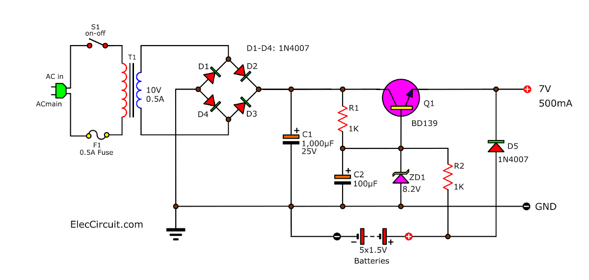 simple ups circuit diagram eleccircuit com small uninterruptible power supply ups circuit