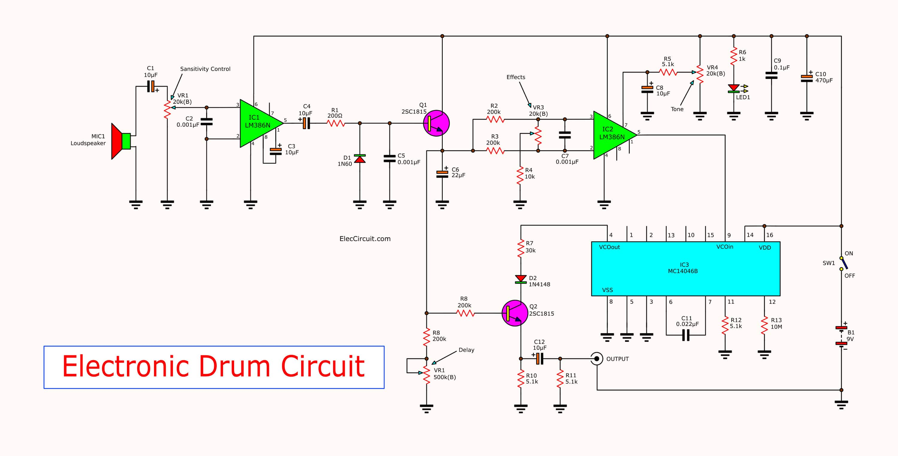 Simple Electronic Drum Circuit Using Mc14046 Eleccircuit Touch Switch Cd4011 Circuits And Diagram Pcb Layout The Small By