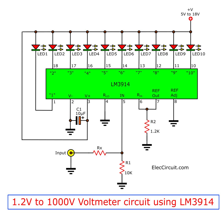 1.2V to 1000V Voltmeter circuit using LM3914