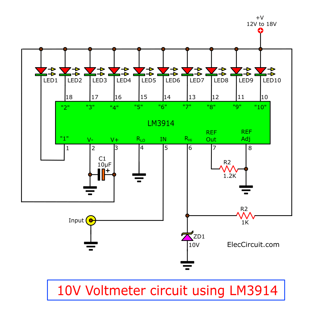 10V voltmeter circuit using LM3914 and Zener Diode