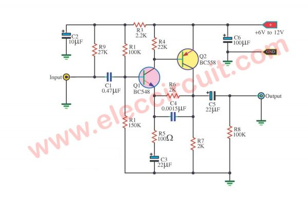 Simple Preamplifier Circuit using BC548 Transistors