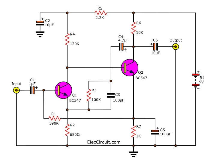 4 Preamplifier circuits using transistors - Eleccircuit.com