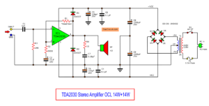 TDA2030 bridge amplifier circuit diagram with PCB, 35W RMS