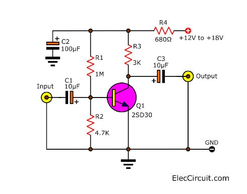 Circuit Pre Amp With Transistor