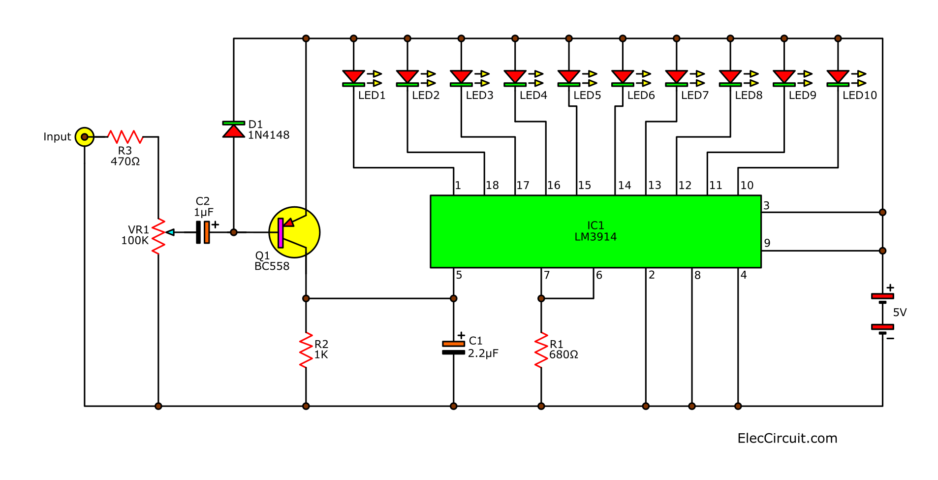 Led light based music circuit with LM3914