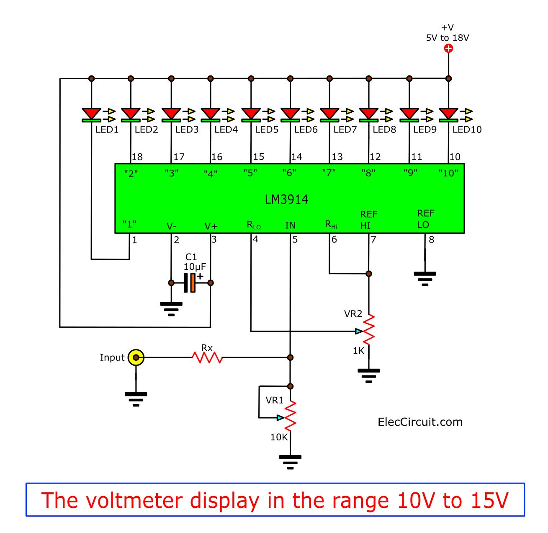 voltmeter display in range 10V to 15V