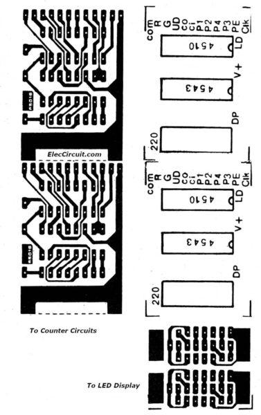 PCB layout universal digital counter