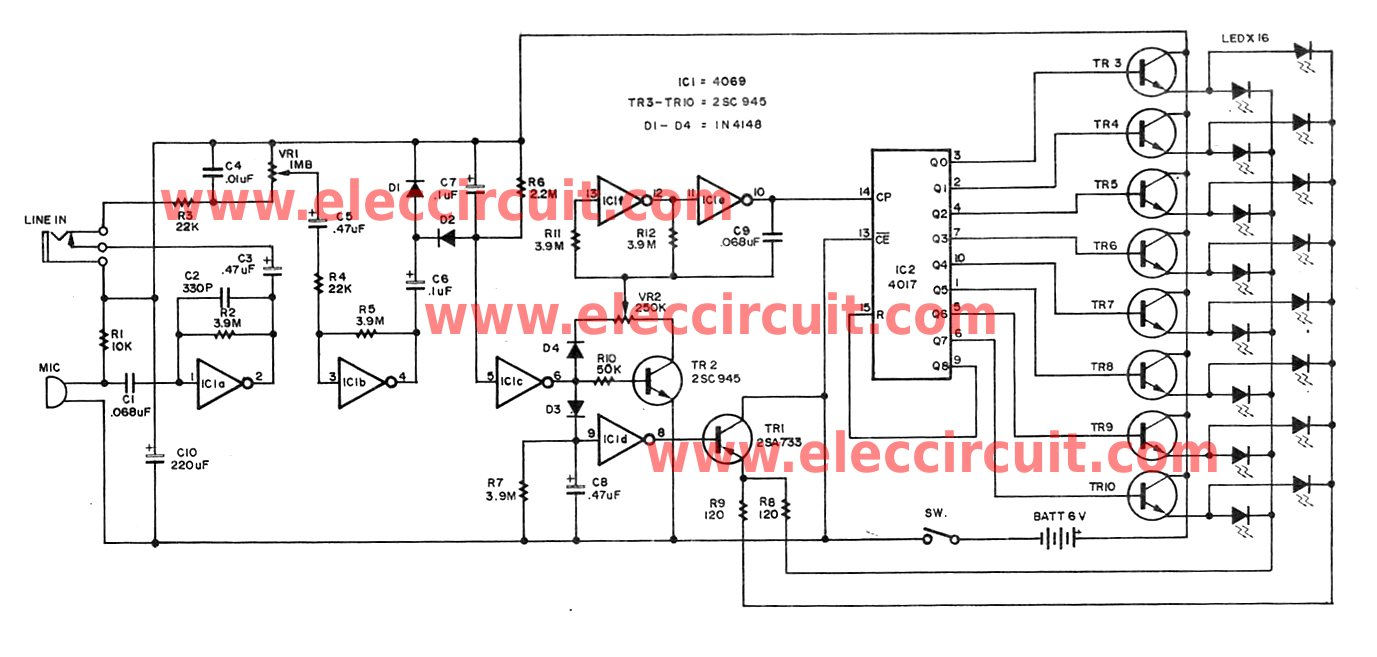 Christmas Led Flasher Circuit Controlled By Audio Was Constructed With The Use Of Power Amplifier Lm380 Cheap Light Is