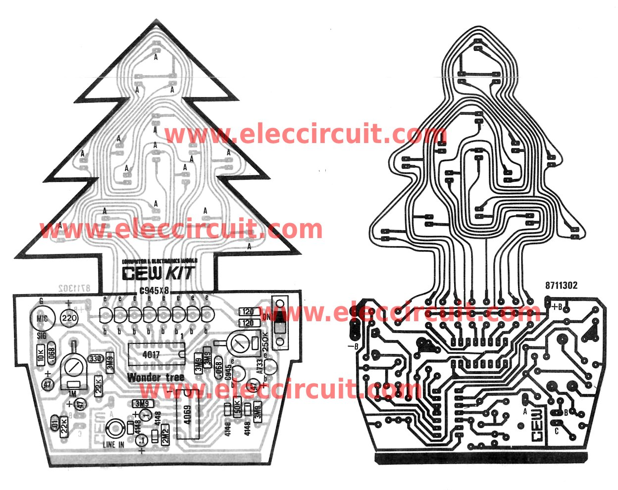 Easy To Build Circuit Free Wiring Diagram For You Simple Amplifier Electronic Circuits Christmas Led Flasher Controlled By Audio A Builder