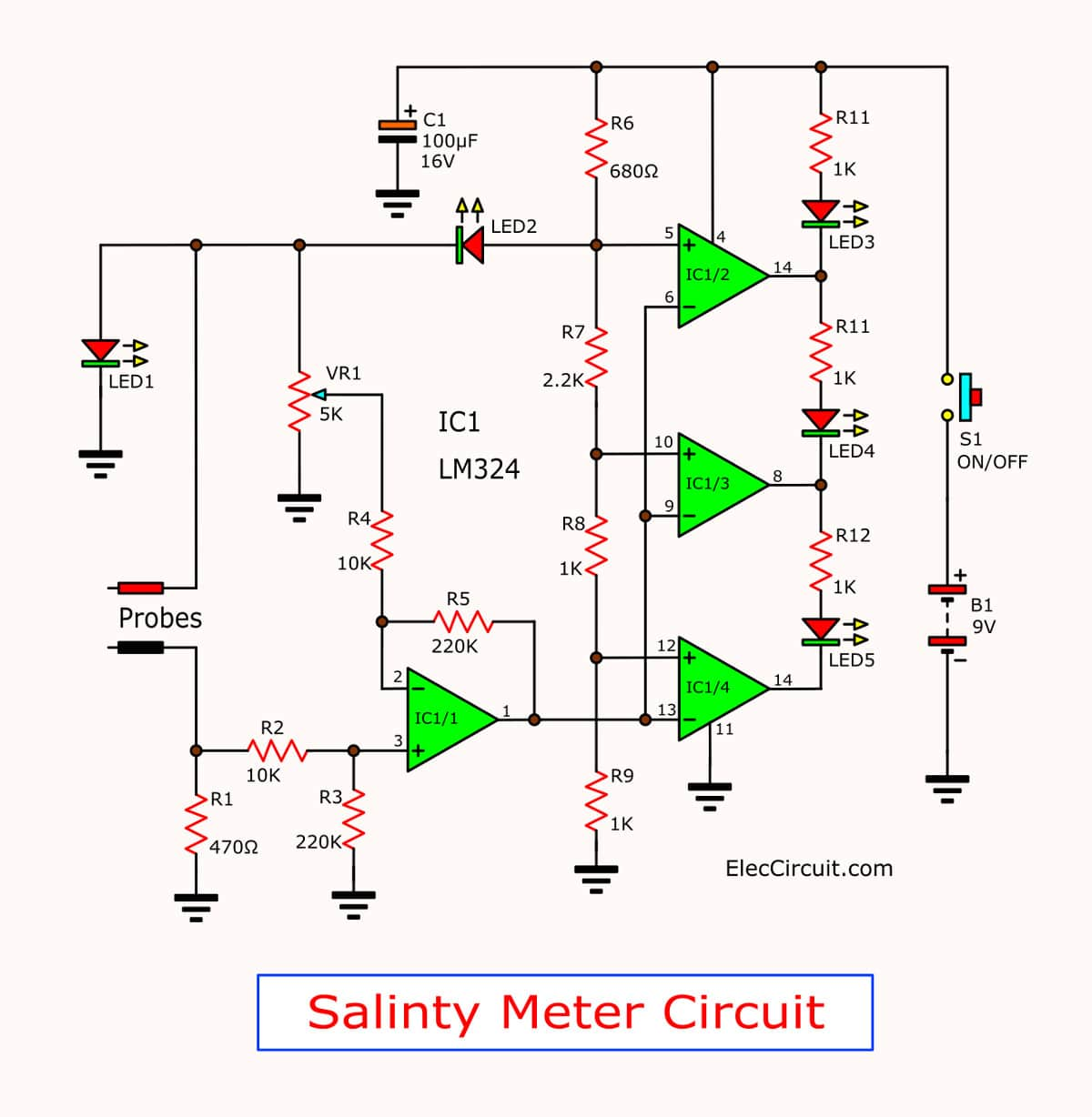 Circuit Diagram Tester Wiring Library Lm324 Pin The Food Salt Salinity Meter