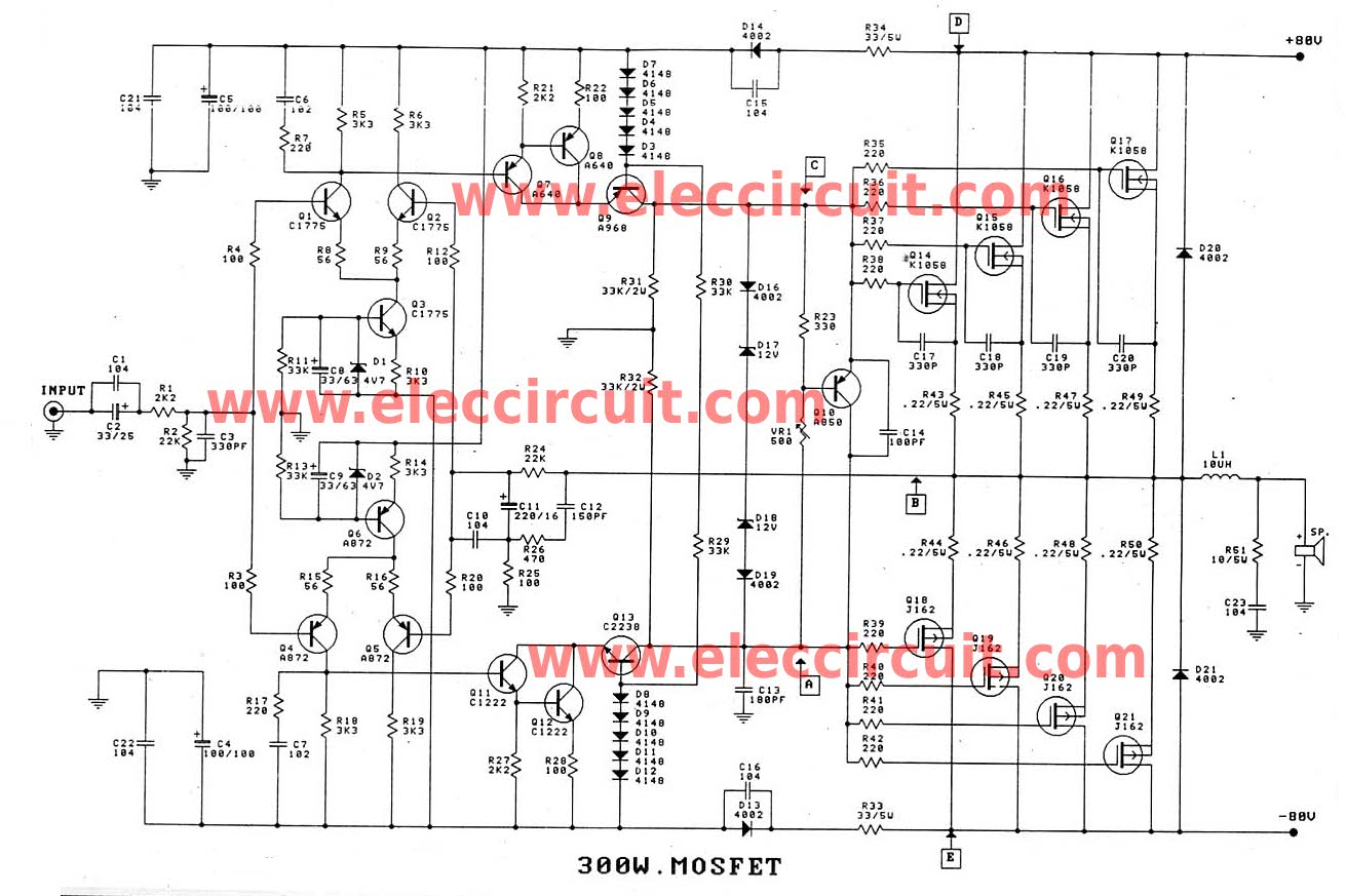 300 1200w mosfet amplifier for professionals rh eleccircuit com 500w mosfet amplifier circuit diagram mosfet amplifier schematic diagram