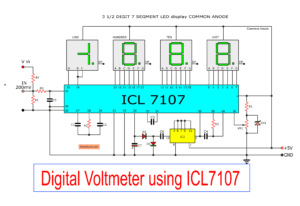 Digital voltmeter circuit diagram using ICL7107 / 7106 with PCB