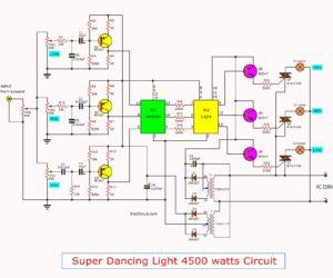 Music dancing light circuit,4500 watt using opto isolator