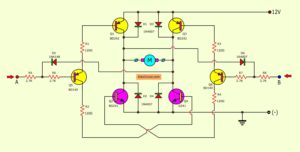 2 channel DC motor driver circuit on a saving model