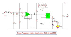 Simple Frequency meter circuit using CA3140 555