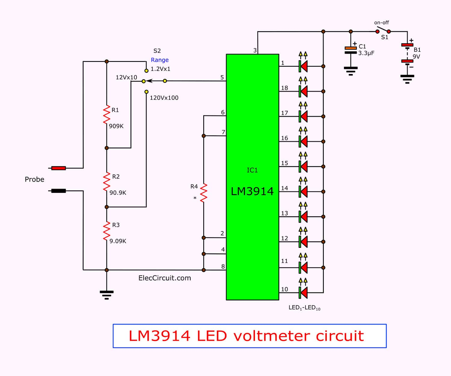 simple led voltmeter circuit using lm3914 eleccircuit rh eleccircuit com 7400 IC Diagram 6500 Keypad Ic Diagram